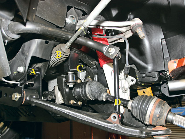 The unique two-piece front crossmember allows for easy installation with no cutting. The front bracket installs in the lower A arm holes (A), and the A arm installs in the bracket. The rack-and-pinion steering (B) remains in the stock location so bumpsteer is eliminated. Brackets for the differential (C) drop the pig into the proper location, and longer sway-bar links are also provided (D).