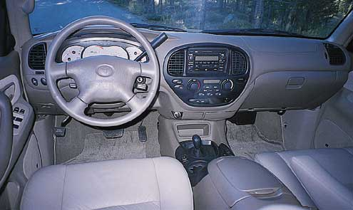 The Sequoia sports a very large, very comfortable interior with superb ergonomics. Note the column-mounted transmission shift lever, and the console-mounted transfer-case shift lever.
