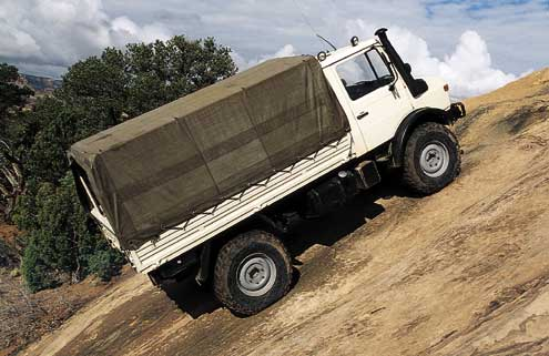 With ultra-low gearing and air lockers front and rear, this model U 1300L Unimog can and does chug right up the steepest trails the Southwest has to offer.