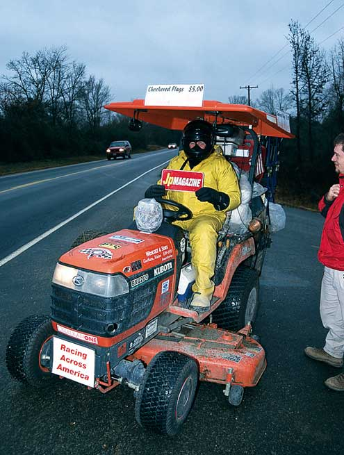 Nice plate. Gary Hatter has ridden this lawn mower once around the country and is working on a second pass. He had driven 13,200 miles when we met him, and had been at it for 232 days.