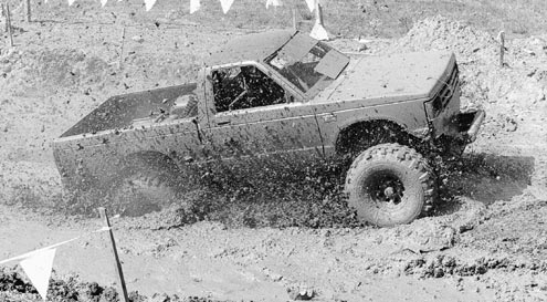 Big power is the name of the game in mud country. The power-to-weight ratio needs to be high enough to overcome the suction of the mud, and wheel speed with high gears can be the ticket. If your tires are taller than what your gears can handle, the ratio should be lowered to find the best combination.