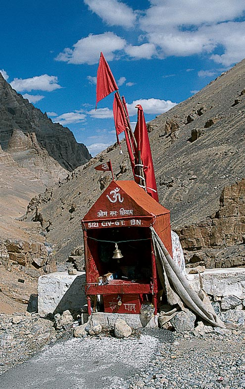 One of the many roadside temples on the road from Manali to Leh. It's common for travelers to stop and pray along the way through the treacherous mountain passes.