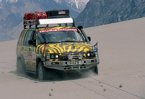 Itsik Mini gets stuck in the Nubra Valley dunes in Ladakh. The mountains in the background are in the direction of China and are situated at an elevation of up to 21,450 feet.
