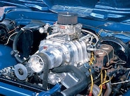 A heavily modified Chevy 350 V-8 with a 750cfm Edelbrock carb and