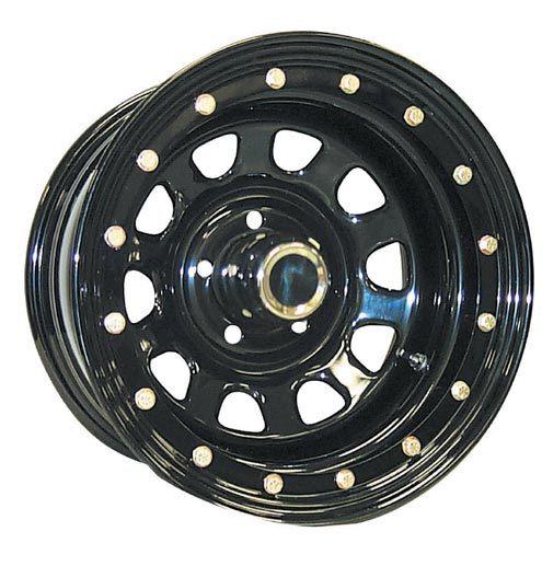 4Wheel Parts Wholesalers offers its 152-series Street Lock steel wheel. This faux bead lock is DOT-legal. The outer ring on this wheel is welded a full 360 degrees for the utmost in strength. Even if you're not into the look, this wheel is worth considering because the outer edge is virtually invulnerable to damage in the rocks.