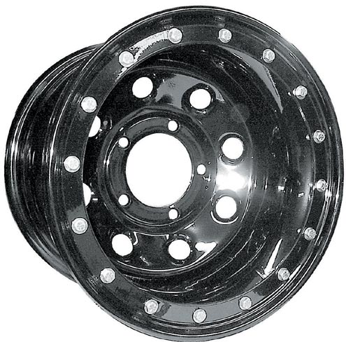 The Eaton bead lock offered by National Tire and Wheel is a steel-wheel-based true bead lock. This wheel has a 16-bolt ring.