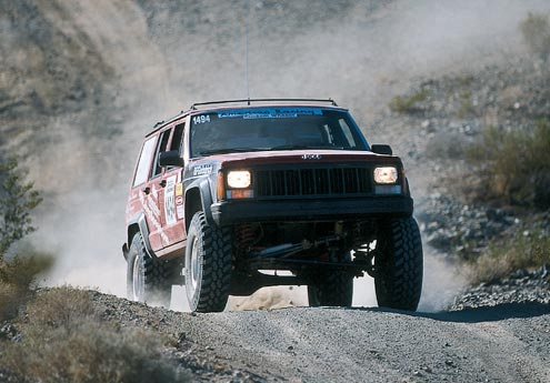 From a distance the JeepSpeed Cherokees don't look much different than your average off-roader. Some competitors have been known to drive their rigs to the race, race 'em, and then drive them home afterward.