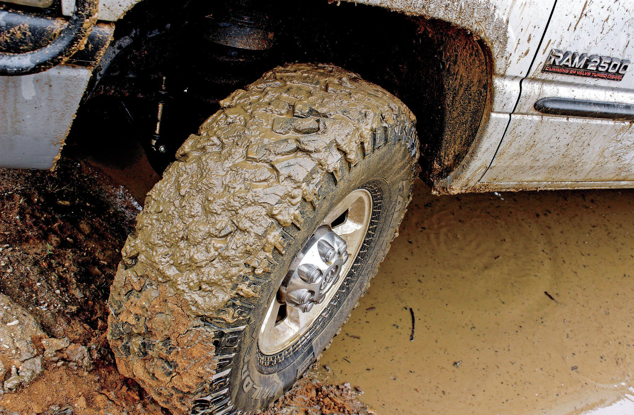 When testing off-road tires, sometimes it can be tough to get a handle on a particular tire's capabilities compared to others, but with time logged on other brands of mud-terrains mounted on this same truck, we had a couple of good baseline comparisons to work with. When mud was on the menu, the tires depended heavily on velocity to clean out the voids, but once spinning, they always seemed to get the job done.