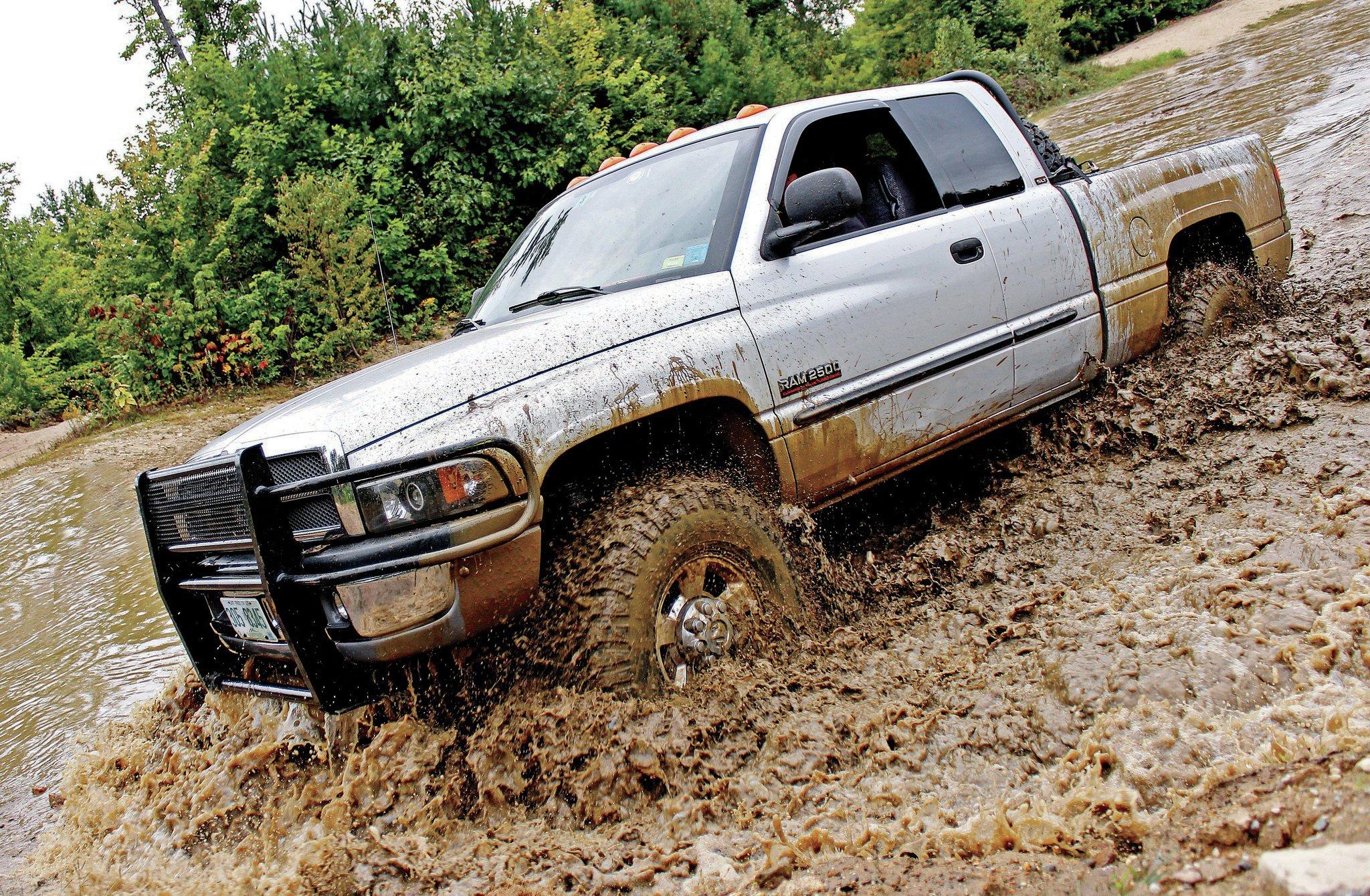 dode ram wheeling in mud with falken wildpeak mt